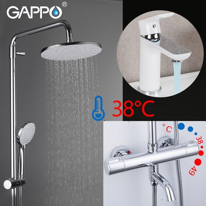 GAPPO Cromo chuveiro com sistema de branco conjunto cachoeira misturador da bacia do banheiro de Bronze misturador do chuveiro do banho rain shower cabeça