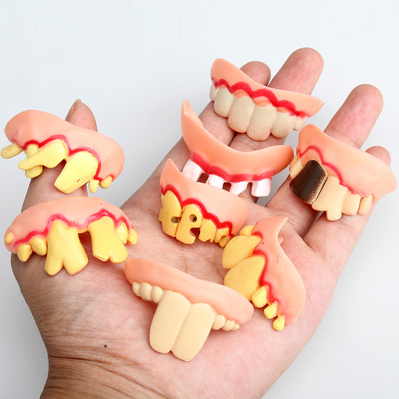 Prank Startle Tooth Halloween Scary Crooked Monster Teeth Novelty Toy Children Adult Horror Teeth Practical Jokes Toys FCI#