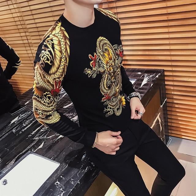 럭셔리 골드 드래곤 인쇄 슬림 스웨터 남성 풀오버 Erkek Kazak 클럽 파티 무대 의류 남성 스웨터 Trui Heren