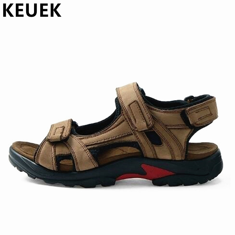 New Arrival Outdoor Sandals Genuine leather Casual Men Beach shoes Large size Hook & Loop Summer cutout hole shoes 061
