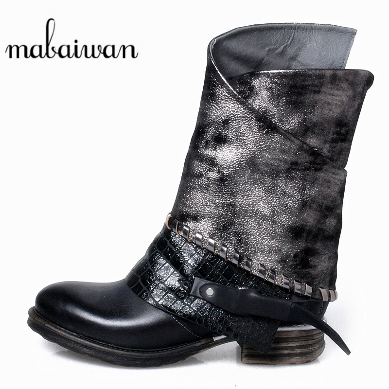 Mabaiwan Fashion Chelsea Women Shoes New Winter Ankle Boots Genuine Leather Flats Black Military Cowboy Martin Boots Mujer mabaiwan handmade rivets military cowboy boots mid calf genuine leather women motorcycle boots vintage buckle straps shoes woman