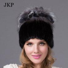 Women's hat winter real mink fur hat with silver fox fur rabbit fur Russia hot fashion style good quality female brand warm cap