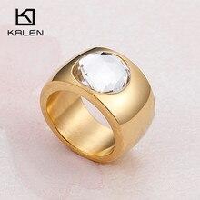 d1be16b77 Kalen Big Rhinestone Rings For Women Stainless Steel Dubai Gold Finger Rings  Femme Wedding Engagement Rings
