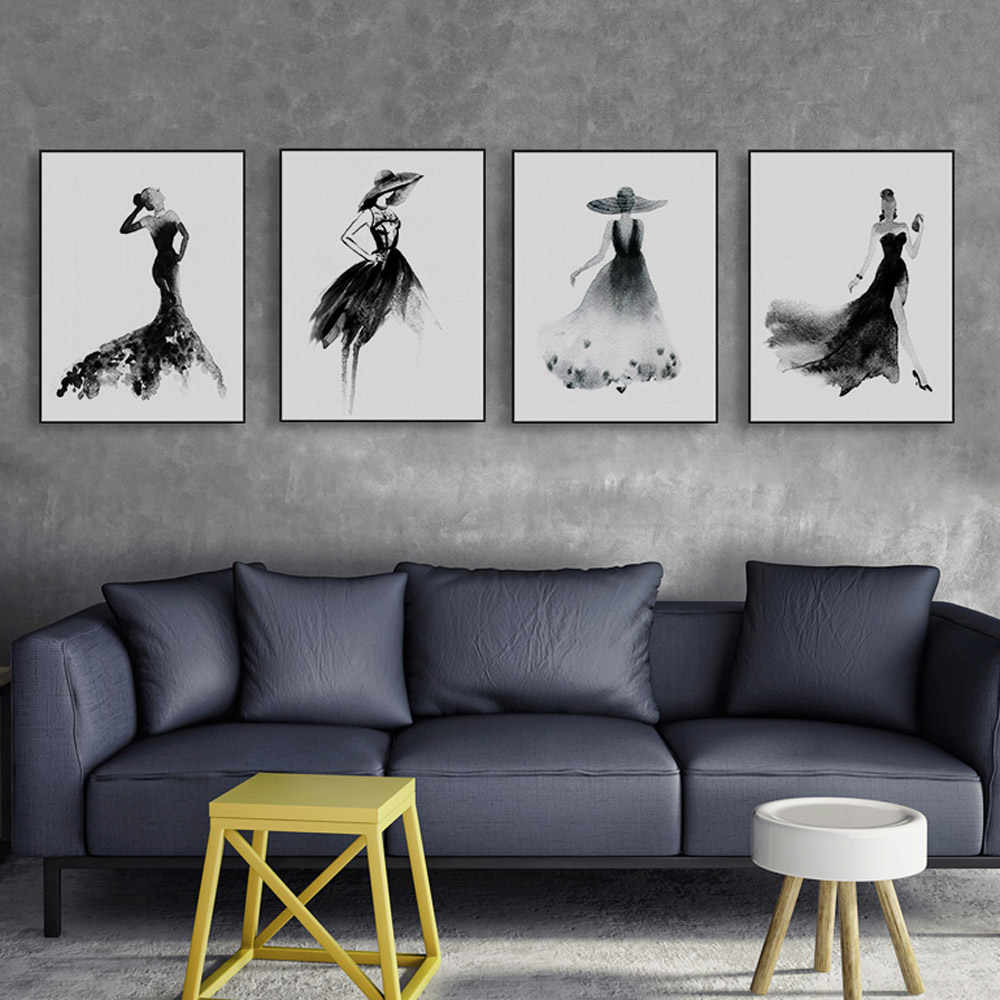 Modern Nordic Black White Fashion Beauty Canvas Art Print Poster Wall Picture Painting Elegant Girl Room Home Decor No Frame