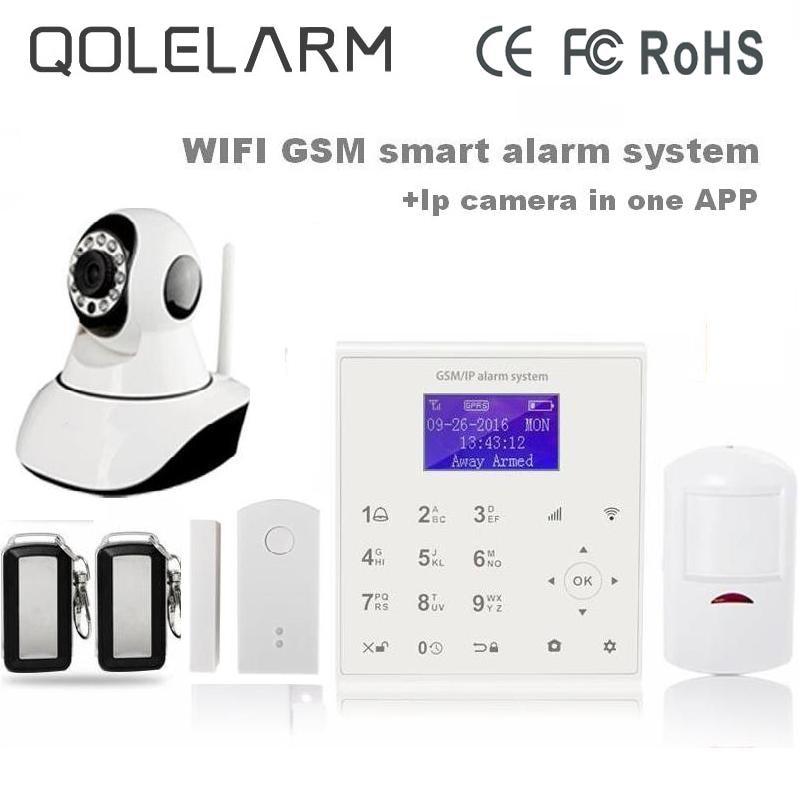 QOLELARM Spanish Polish menu wireless house alarm system gsm wifi cloud ip mini-camera Yoosee door sensor rechargeable battery