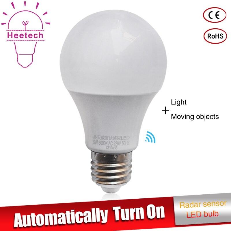 LED Microwave Radar Motion Ambient Sensor Light Lamp E27 Smart Light Bulb 9w 7w 5w AC85-265V For Corridor Garage Yard