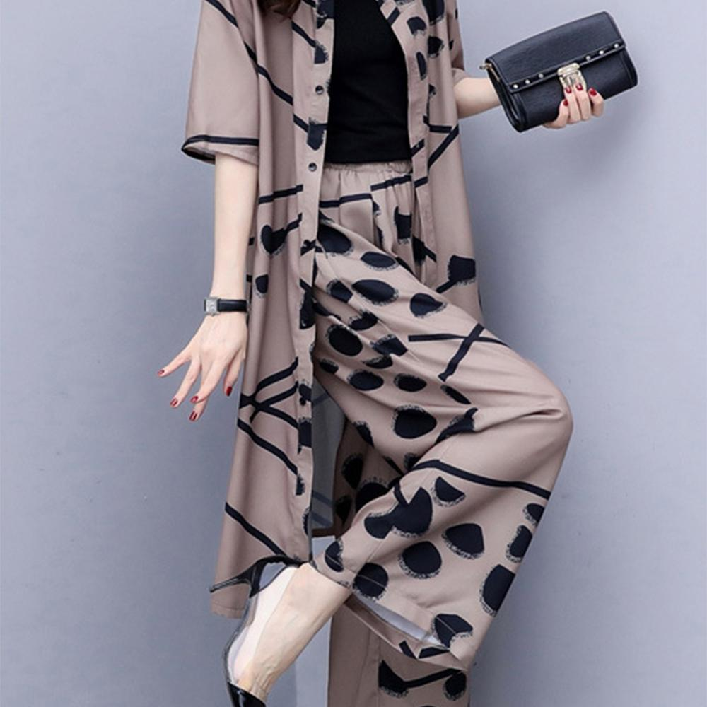 Polka Dot Chiffon Cardigan And Wide Leg Pants Womens Sets Two Piece 2019 Short Sleeve Single-breasted Top Loose Conjuntos De Muj