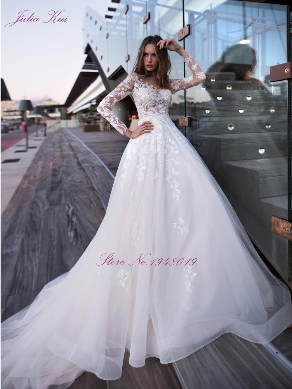 Julia Kui Robe De Mariage Full Sleeve Button Back A Line Wedding Dress Elegant Scoop Appliques Lace Floor Length Bridal Dress-in Wedding Dresses from Weddings & Events    3