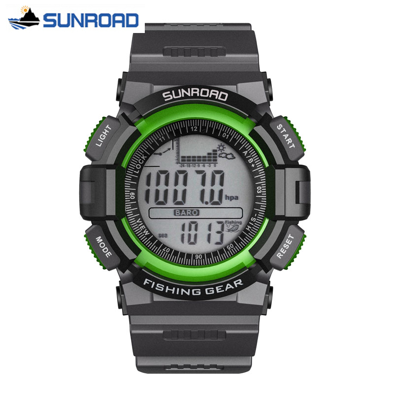 SUNROAD Men Watch Digital Fishing Barometer Altimeter Thermometer Altitude Hiking Sport Wrist Watch Clock saat relogio masculino