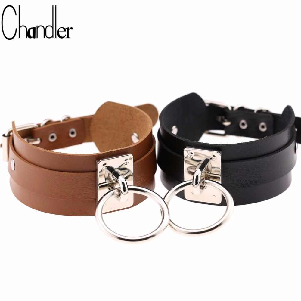 Chandler Round Metal Big Cricle Women Men Jewelry Cool Punk Goth Rivet Choker Necklace Wide PU Leather Collares Silver Chokers