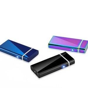 Image 4 - Dostosować USB elektryczny podwójny łuk zapalniczki akumulator wiatroszczelna latarka zapalniczka papieros podwójny grzmot Pulse Cross zapalniczki plazmowe