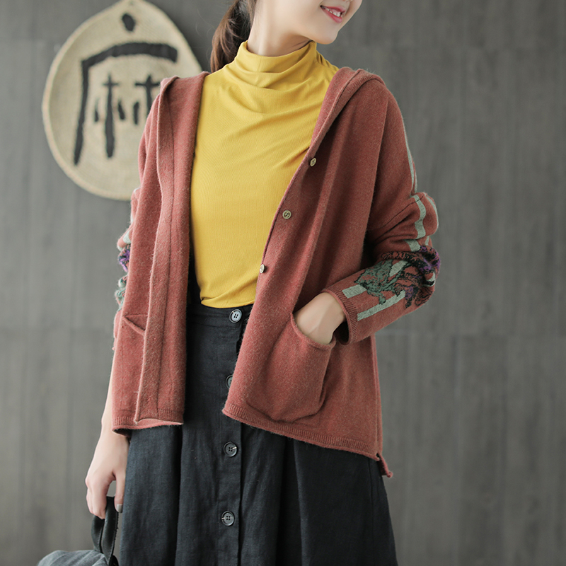 Autumn jackets Fashion Women Loose Knitting Coat Tops New Hooded Long sleeved Button pocket Casual Female