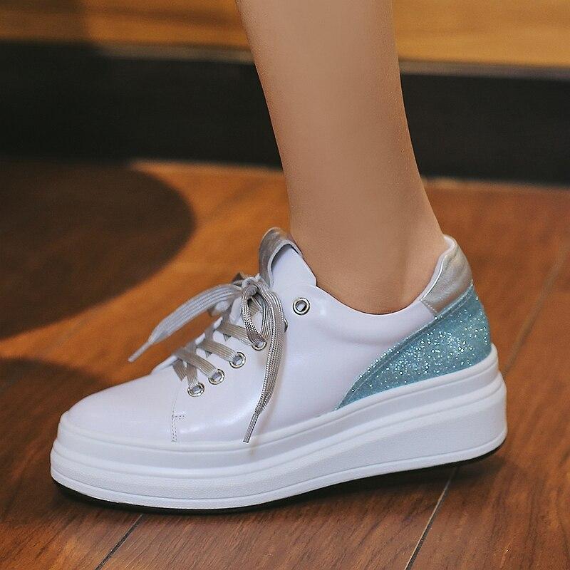 Deporte 4 Moda Plataforma multiple Mujer 2019 Mujeres Leopardo Zapatos De Cuero Las Zapatillas 5 Cm Azul fgwPHFn