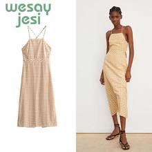 2019 Summer yellow Plaid Dress Vintage Beach Boho Open back Dress Streetwear Spaghetti Strap square-Neck Sexy Party Women Dress