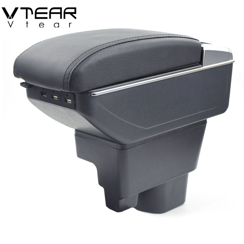 Vtear For Geely MK armrest box USB Charging interface heighten central Store content box cup holder