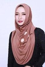 Sprzedaż moda muzułmańska pętla okrągły hidżab piękne kwiaty gładkie elastyczne islamskie okłady zroszony jednolity kolor duży rozmiar hidżab
