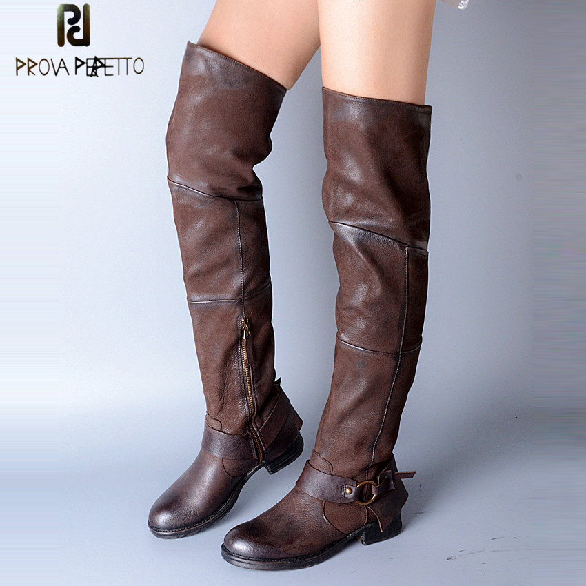Prova Perfetto Fashion Over The Knee Boots Women Round Toe Buckle Stretch Slim Long Boots Woman Genuine Leather Thigh Boots prova perfetto fashion round toe low heel mid calf boots feminino buckle belt thick bottom genuine leather women s martin boots