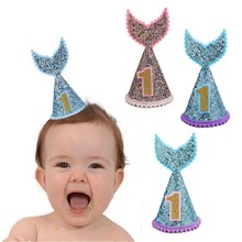 1st Birthday Hat Little Mermaid Party Glitter Felt Birthday Cap Headband Under the Sea Birthday Party Decoration Kids Supplies