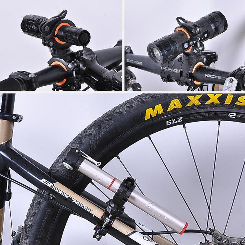 360° Bike Bicycle Flashlight Torch Mount LED Head Light Holder Clip Clamp