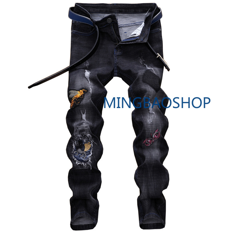 Shredded jeans Male straight embroidery flower fashion slim fit elastic feet retro trousers jeans for men skinny jeans men 2019