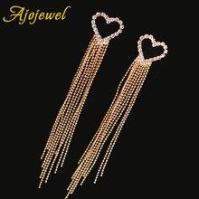 Ajojewel Hollow Rhinestone Heart Earrings With Bead Chain Tassel Elegant Long Drop Earrings For Women Brass Jewelry Wholesale