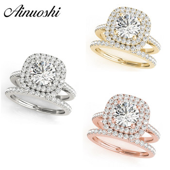 AINUOSHI 925 Sterling Silver Women Wedding Engagement Ring Sets Double Halo 1ct Round Cut Wedding Rings Princess Silver Rings
