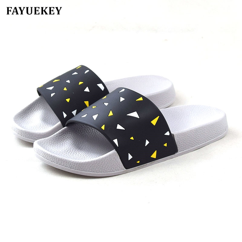FAYUEKEY New Summer Home Non-slip Lovers Bathroom Slippers Indoor\Floor Outdoor Couples Beach Open-Toed Slides Sandals Shoes summer aqua shoes outdoor slide sandals mens slippers beach sand slippers men camouflage lovers slides couples plus size shoe 45
