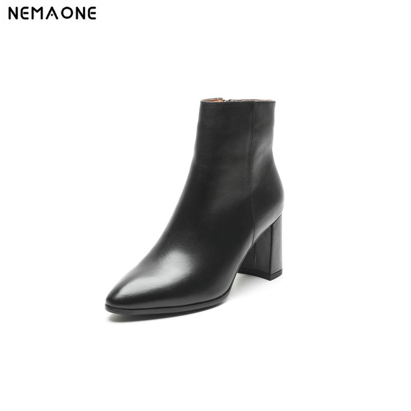 NemaoNe High Quality Genuine Leather Suede Ankle Boots Sexy Pointed Toe Female Shoes Woman zipper Elastic Band Footwear
