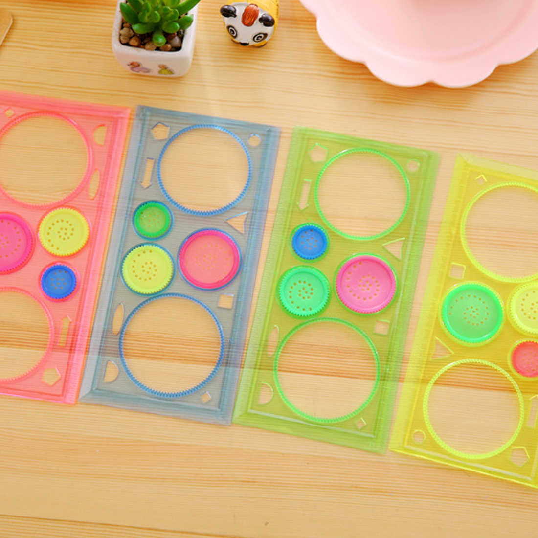 Diplomatic Fangnymph Multi-function Puzzle Flowers Ruler Creative Candy Color Transparent Spirograph Geometric Ruler Student Drawing Ruler Cool In Summer And Warm In Winter Drafting Supplies