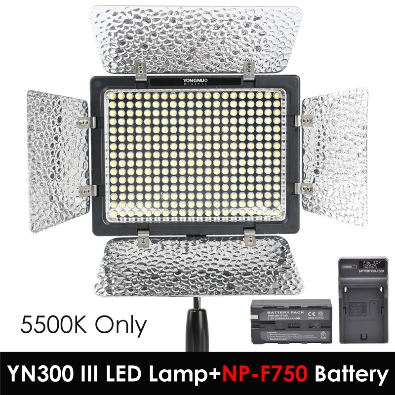 Yongnuo YN300 III YN-300 III 5500 k CRI95 Caméra Photo LED Lumière Vidéo avec 5200 mah NP-F750 Batterie Pack avec chargeur ensemble