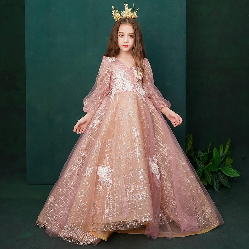 2019 Kids Girl  Lace Applique First Communion Dress Teen Girl Princess Trailing Prom Gown Children Elegant Mesh Dress Q508