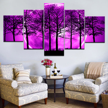 Wall Art Pictures Home Decor Poster Frame 5 Panel Purple Moon Night Psychedelic Forest Modern Living Room HD Printed Painting