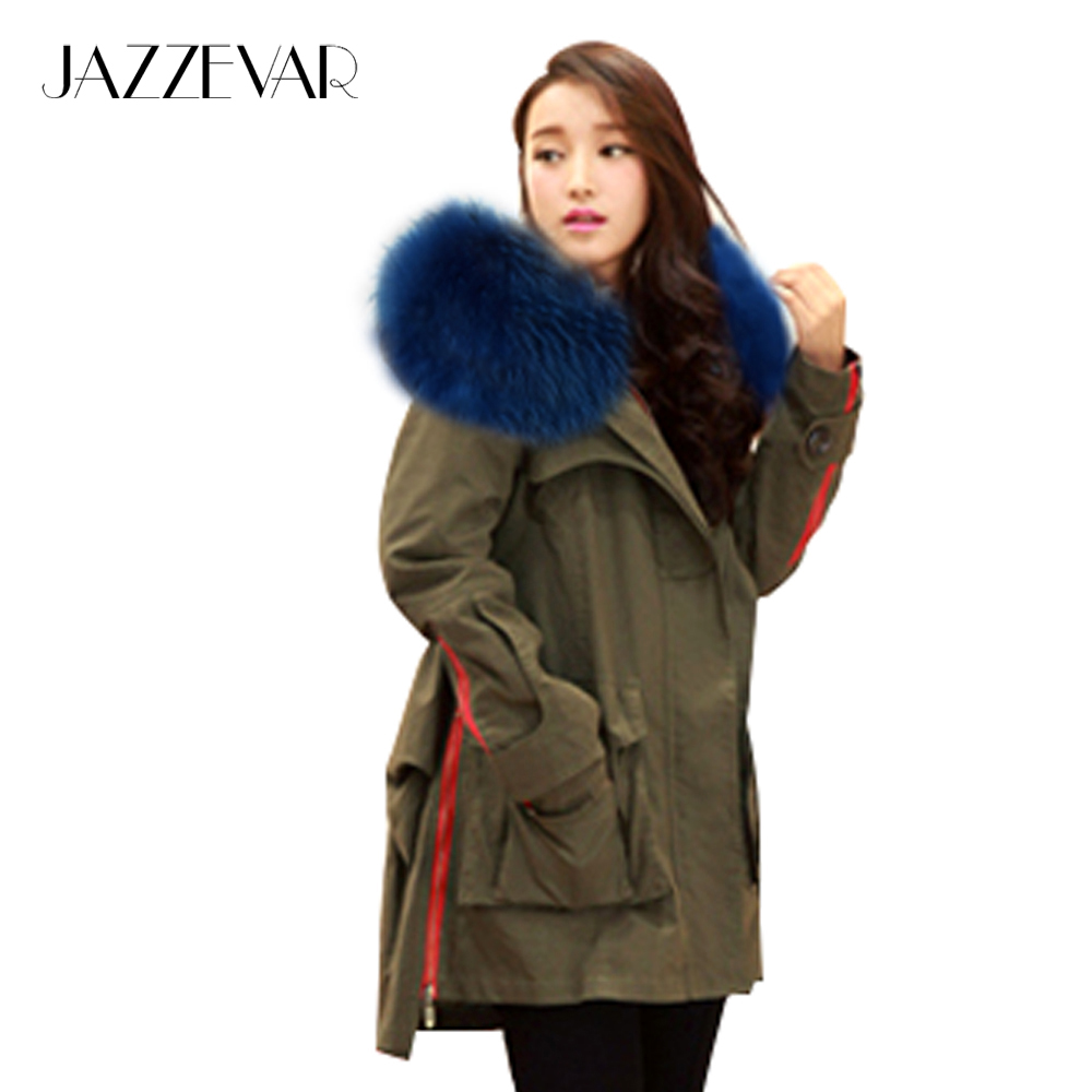 JAZZEVAR 2019 New Winter Women Parkas Army Green Large Real Raccoon Color Fur Collar Hooded Coat