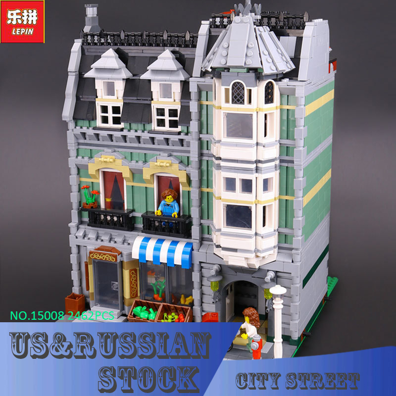 LEPIN 15008 2462Pcs Genuine New City Street Green Grocer Model Building Kit Blocks Bricks Toy Gift Compatible Funny Gift 10185 lepin 15009 city street pet shop model building kid blocks bricks assembling toys compatible 10218 educational toy funny gift