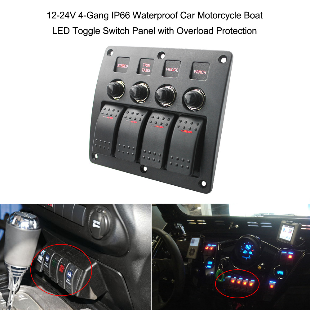 12 24V 4 Gang IP66 Waterproof Car Motorcycle Boat LED Toggle Switch ...