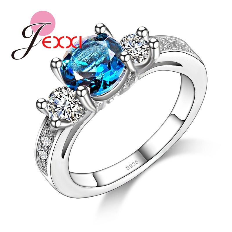 PATICO Special Design Shine Blue CZ Crystal Inlay Wedding Ring for Female Best Qulity 925 Sterling Siler Stamped Rings