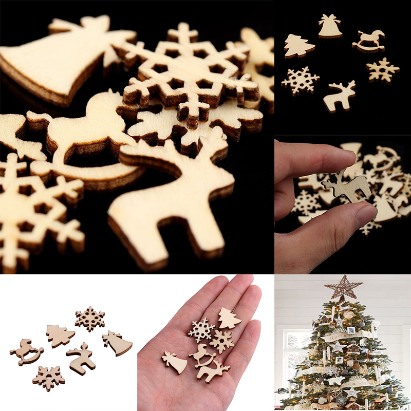 100pcs Christmas Decoration Wooden Snowflake Christmas Tree Deer Trojan  Natural Wooden DIY Christmas Tree Hanging Ornaments F 2