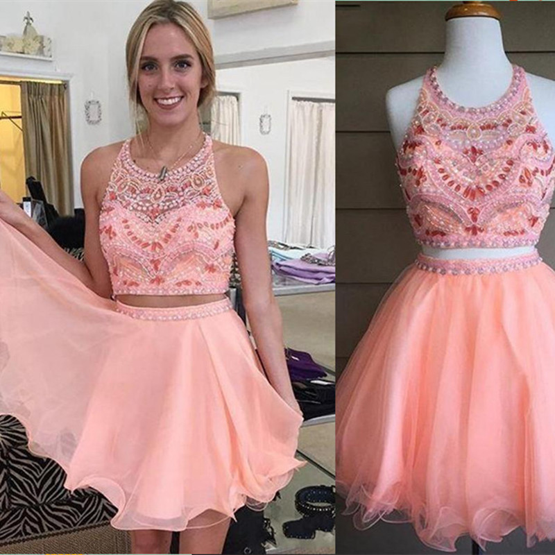 Charming Two Pieces Set Short Chiffon Prom Gown Beading Cocktail Dresses For Wedding Party