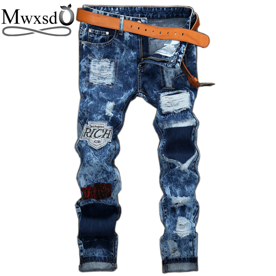 Mwxsd brand Casual Men's hole ripped jeans men hip hop pants moto biker fashion Jeans male skinny Denim Pants Straight jeans fashion mens male pants brand zipper jeans men hip hop pants slim hole patch casual jeans fashiontrouser for men free shipping