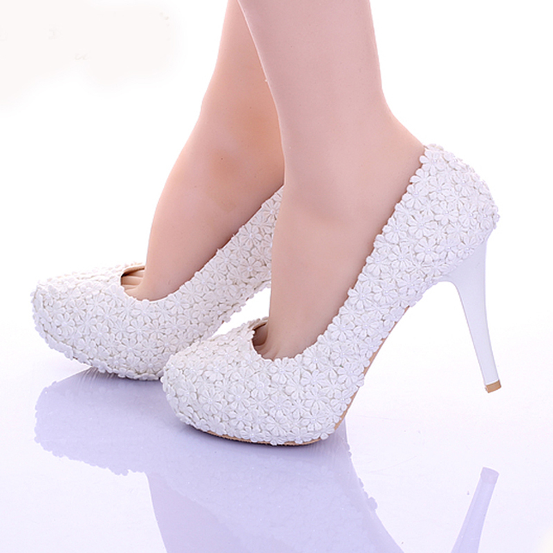 White Lace Flower Formal Dress Shoes Comfortable