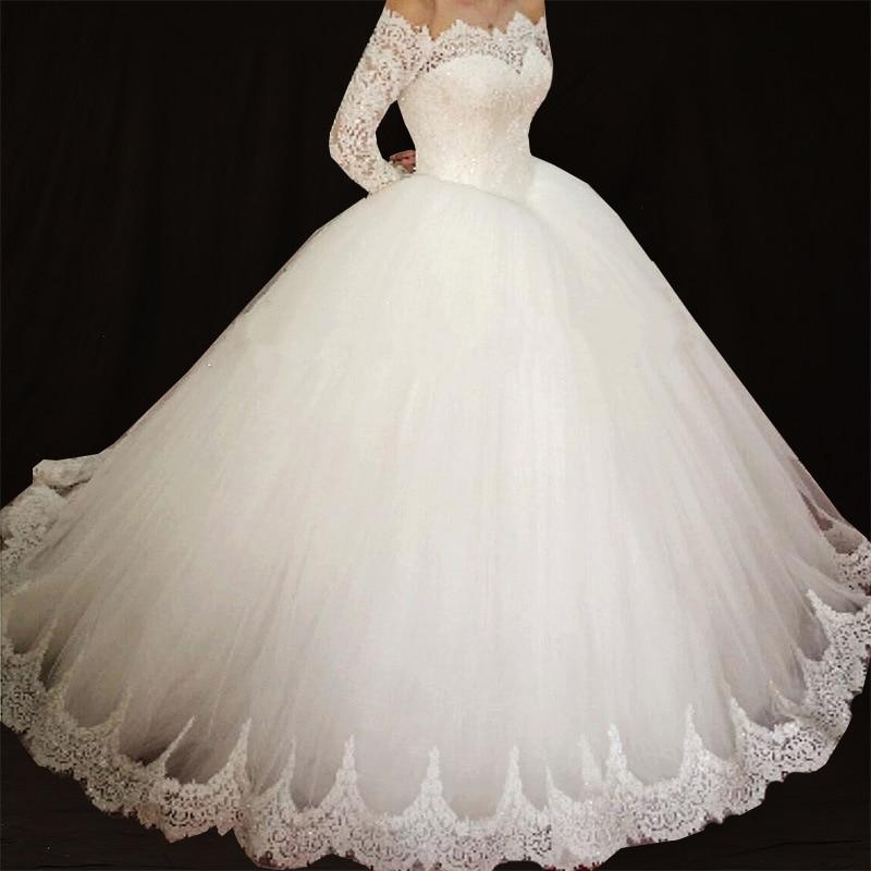 Simple Long Sleeves Ball Gown Dress Wedding 2018 Vestidos de Novia Off the Shoulder Dresses Wedding