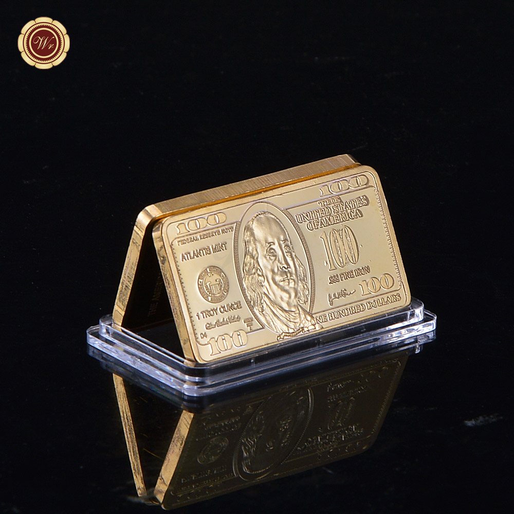 24k Gold Bar 100 Dollar America Copy Coin Usa Plated Souvenir Buillion Collect Business Gift In Non Currency Coins From Home Garden On