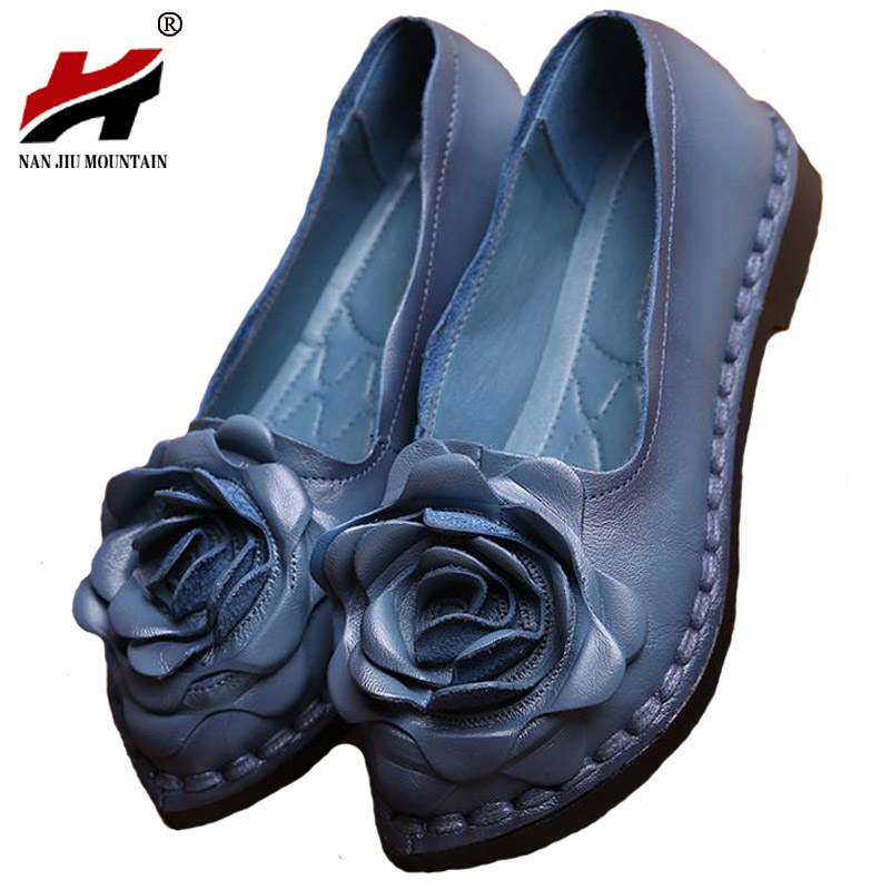 Original Handmade Spring Women Genuine Leather Shoes Cowhide Loafers Real Skin Shoes Folk Style Ladies Flat Shoes For Mom sapato