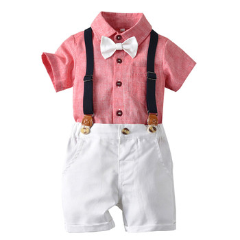 Boy Clothing Children Summer Boys Clothes Gentleman Bow Tie Solid T-Shirt Tops+Short Overalls Outfits Roupa Infantil Kid Clothes 1