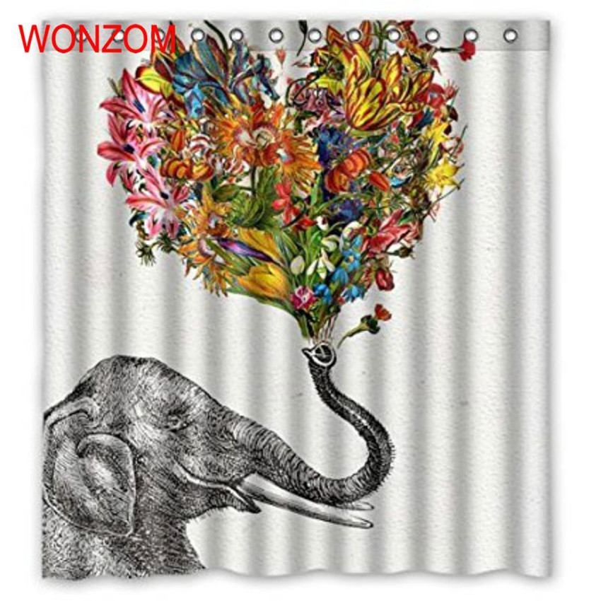 WONZOM Modern Elephant Bath Waterproof Curtain 3D Polyester Fabric Shower Curtain with 12 Hooks For Mildewproof Bathroom Decor