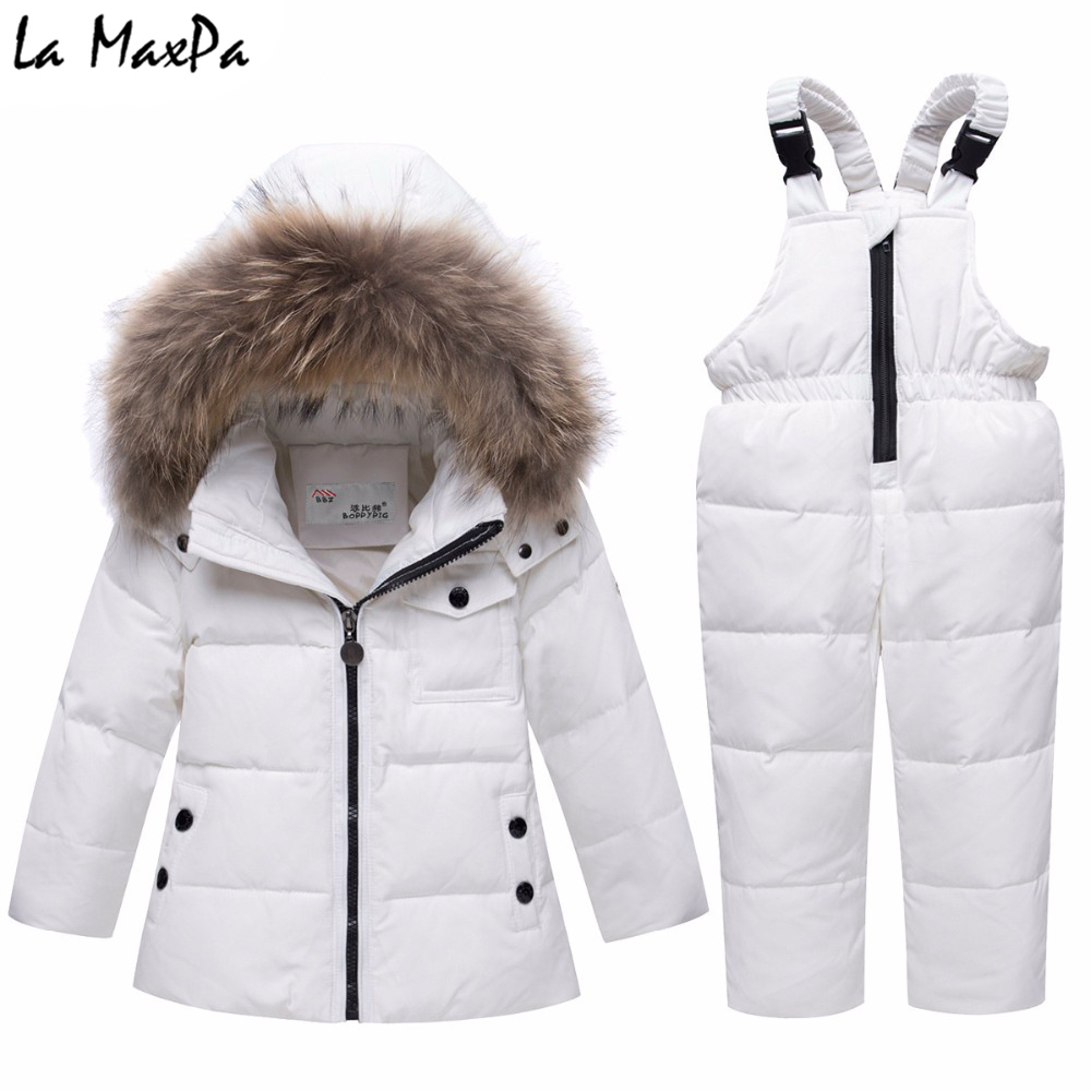 Parka real Fur hooded boy baby overalls girl winter down jacket warm kids coat children snowsuit snow clothes girls clothing Set цена