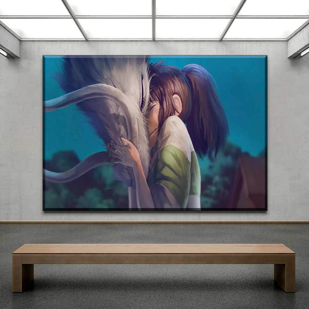 Wall Art Canvas Hd Print Poster Home Decor Children Room Pictures 1 Pieces Chihiro Haku Cartoon Spirited Away Painting Framework Painting Calligraphy Aliexpress