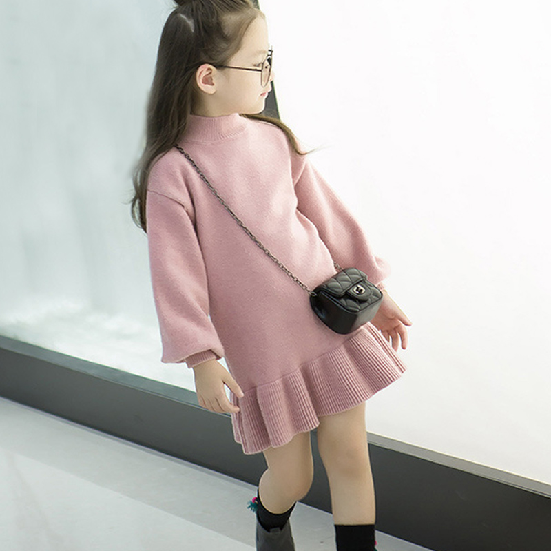 New 2017 Baby Girls' Ruffle Sweater Dress Kids Long Sleeve Princess Party Christmas Dresses Autumn Toddler Girl Children Clothes t100 children sweater winter wool girl child cartoon thick knitted girls cardigan warm sweater long sleeve toddler cardigan