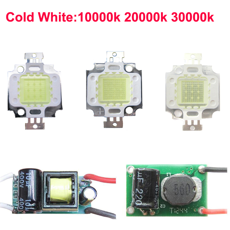 1pcs 10w Cold White 10000K 20000K <font><b>30000K</b></font> <font><b>LED</b></font> Light Bulb Diode Lamp Chip Part With / Without 10W AC / DC <font><b>LED</b></font> Driver Power Supply image