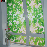 60 100cm Frosted Opaque Glass Window Film Privacy Glass Stickers Shower Room Decorative Green Leaf Cam